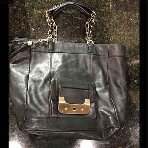 Black leather oversized satchel